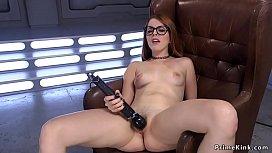 Solo redhead with eyeglasses fucks machine