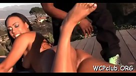 Chocolate woman stands doggy style getting drilled so hard