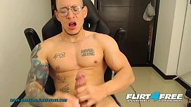 Hans Odinson - Flirt4Free - Tatted Hispanic Hunk with Monster Cock Jerks Off a Big Load on His Abs