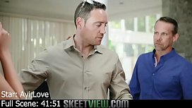 Cute Teen Avi Love takes on three guys to pay off a Poker Debt and gets Creampie and facial