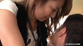 Handsome brunette Sakura Kiryu sucks a big hairy fuck stick