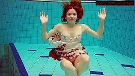 Hairy ginger Polish teen underwater