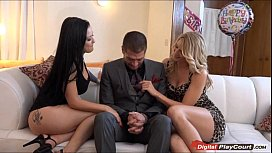 Katrina gives her lover a bi ay threesome with Amanda