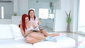 Redheads Antonia Sainz and Kattie Gold lesbian lovemaking from Sapphic Erotica