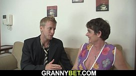 Old granny rides his horny big cock