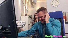 Slutty Daughter Fucking Daddy in Office - FamilyORGASM.com