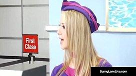 Stewardesses Sunny Lane Eva Angelina Are Fucked On Plane