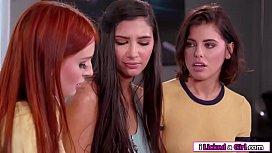 Lesbian redhead licks her hot classmates