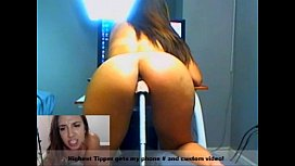 Webcam girl cums hard with machine