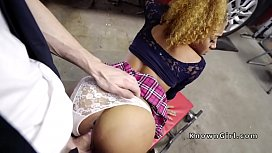 Ebony gi iend cheating in car shop