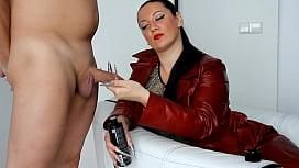 kinkydomina red leather jacket handjob tease
