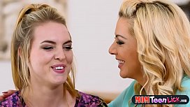 Stepmom helps blonde teen babe with her first orgasm