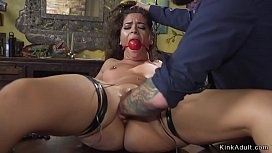 Pussy and anal fisting for brunette babe