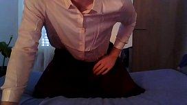 Cute schoolgirl crossdresser in silk back home for some fun