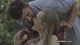 Ass fucking blonde girlfriend in the garden