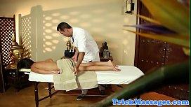Massage babe facefucked by masseur until cum
