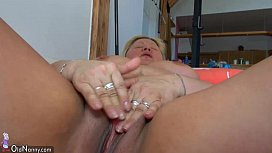 OldNanny Old fat mature with toy, lesbian games