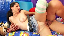 Brunette young babysitter learn how to satisfy older man