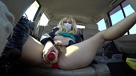 My girlfriend masturbates her hairy pussy in a car. When bored on the road, you can bring yourself to orgasm.