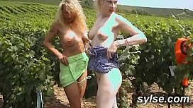 Lesbians flashing outdoor: with sex toys in car and threesome with young boy