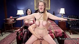 Huge tits slaves banged in threesome