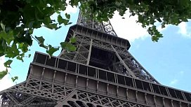 Eiffel Tower public sex threesome group orgy with a cute girl and 2 hung guys shoving their dicks in her mouth for a blowjob, and sticking their big dicks in her tight young wet pussy in the middle of a day in front of everybody