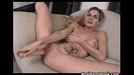 Busty blond and pierced slut doing
