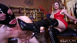 Destroying Her Slave's Balls/ Licking Her Boots Clean xxx video