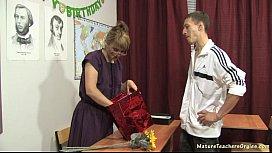 Russian mature teacher Elise teacher day