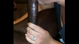 Sexy white wife sucking big black cock again