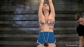 Tied hairy slave made ride Sybian