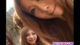 Shiho Kano and dolls suck cock on the beach