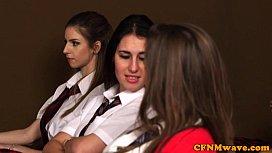 Femdom schoolbabes jerking student