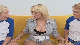 Mature lesbian Starlight wants to play with 2 innocent blonde teens