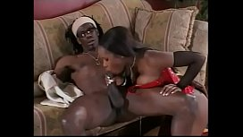 Beautiful black sex goddess has rough anal drilling in red stockings