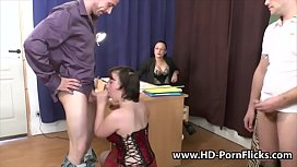A teacher instructs her students on how to fuck while watching them preview