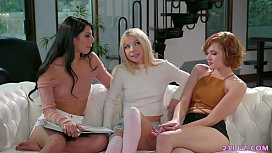 Teen roommates have lesbian sex - Gina Valentina, Kenzie Reeves and Cadey Mercury