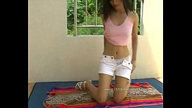 Lana Lee Stripping Outdoors