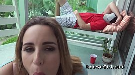 Busty amateur girlfriend on the balcony blows