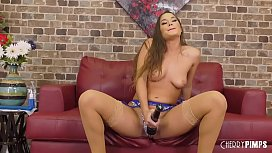 Brunette Vibrator and Huge Dildo Ass Play In Hot Solo Masturbation Scene
