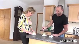 Cheating british milf lady sonia shows off her big globes