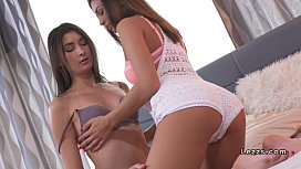 Beautiful teen lesbians licking in bed