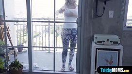 Hot busty stepmother cleaning the windows before a fuck