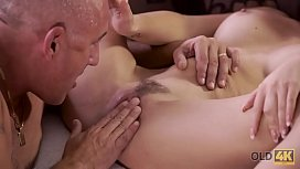 OLD4K. Old buddy ejaculates in chick'_s open mouth after anal fuck