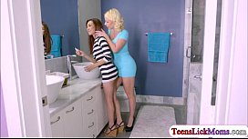 Tiny babe Kiley and her stepmom Dolce fuck each other