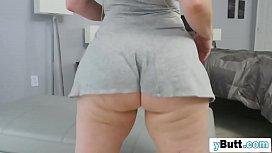 Flawless big butt brunette wife deep throat blowjob BBC husband closed door