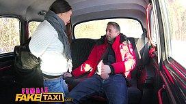 Female Fake Taxi Sexy driver sucks and fucks fare to get even