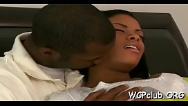 Black babe feels fat ramrod of ebony thug in mouth and love tunnel