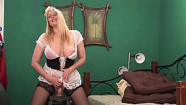 Big Ass Blonde Milf rides her Huge Dildo and Squirt on Cam