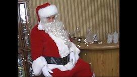 Big ass mature lady sucks and fucks a fat santa'_s cock on the sofa